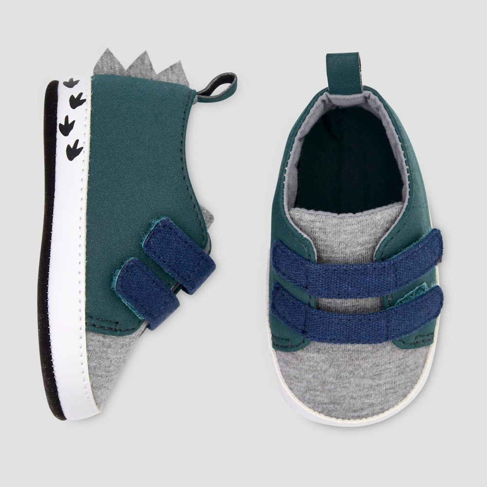 Image of Baby Boys' Dino Sneaker Crib Shoes - Just One You made by carter's Green 0-3M, Boy's, Size: Small