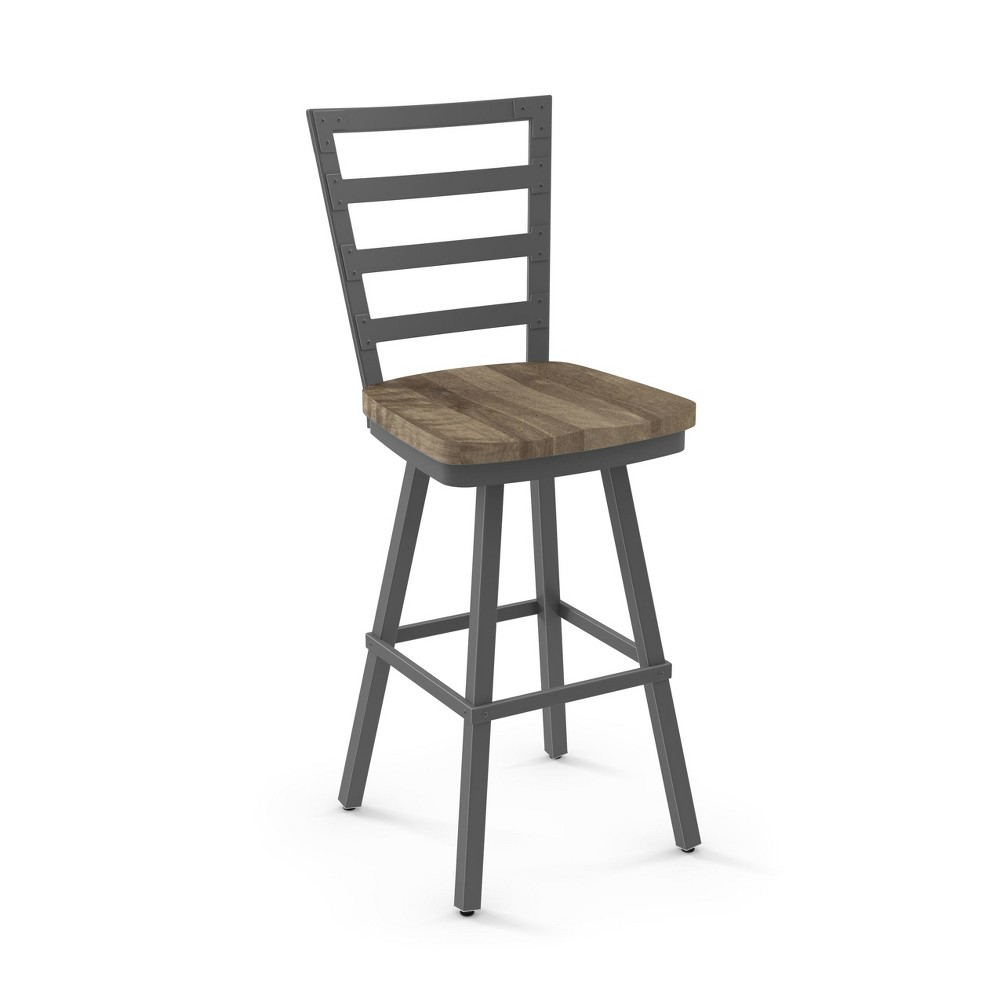 "Image of ""25.25"""" Amisco Prescot Counter Stool with Beige Wood Seat Matte Brown Metal"""