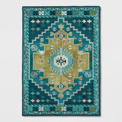 "5""X7' Persian Wool Tufted Area Rug Teal Blue - Opalhouse™"