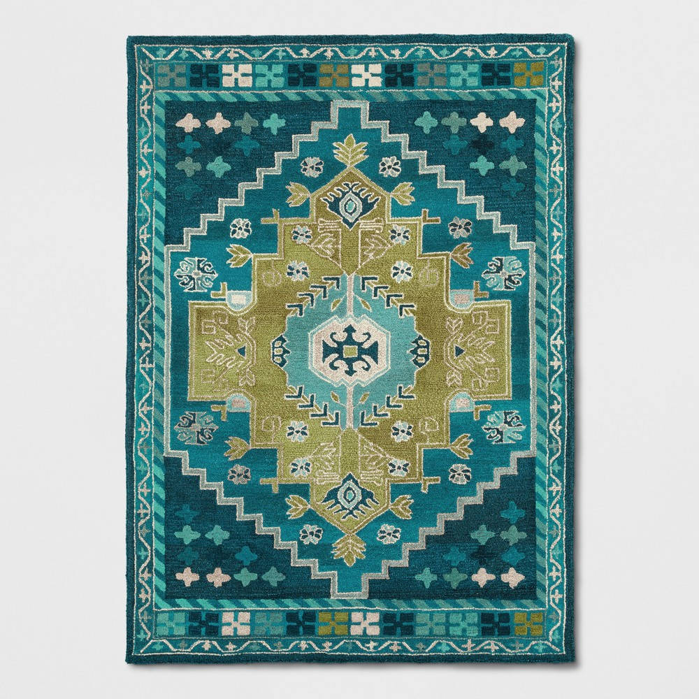 5X7' Persian Wool Tufted Area Rug Teal Blue - Opalhouse was $179.99 now $143.99 (20.0% off)