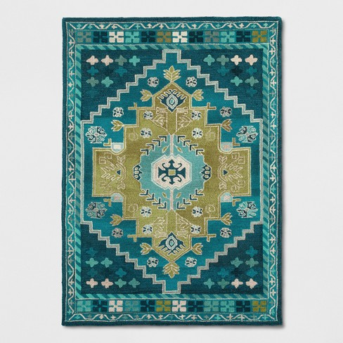 Teal Blue Persian Wool Tufted Area Rug