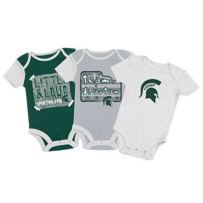 NCAA Michigan State Spartans Baby Boys' 3pc Bodysuit Set - 6-9M