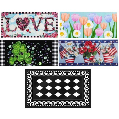 Evergreen Flag Sassafras Doormat Shabby Chic Spring Summer Holidays - Easter July Fourth St Patricks Day and Valentines Day - Set of 5