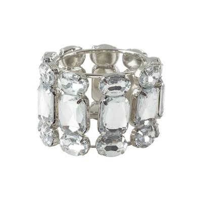 Clear Jeweled Gem Stone Napkin Ring Set of 4 -Saro Lifestyle