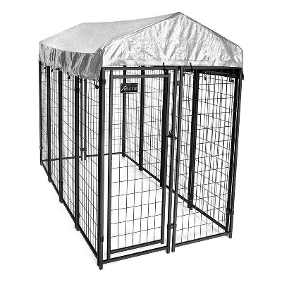 Homestead 8 x 4 x 6 Foot Outdoor Welded Wire Dog Kennel, Shelter, and Playpen with Waterproof Cover for Small/Medium Pets and Farm Animals, Black