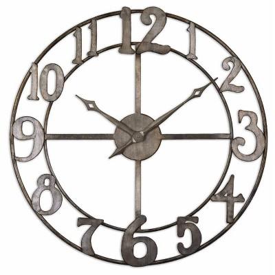 """Delevan 32"""" Metal Wall Clock Bronze - Uttermost"""