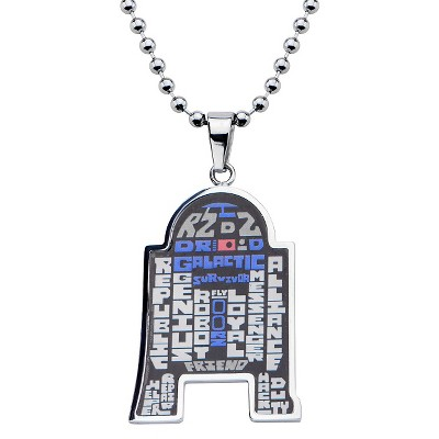 """Men's Star Wars Stainless Steel R2-D2 Typography Art Pendant with Chain (22"""")"""