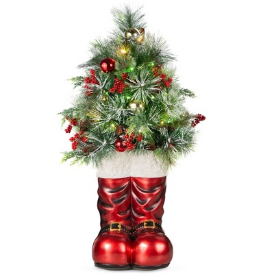 Best Choice Products 40in Santa Boots Decoration w/ Pre-Decorated Christmas Greenery, Battery-Operated Lights