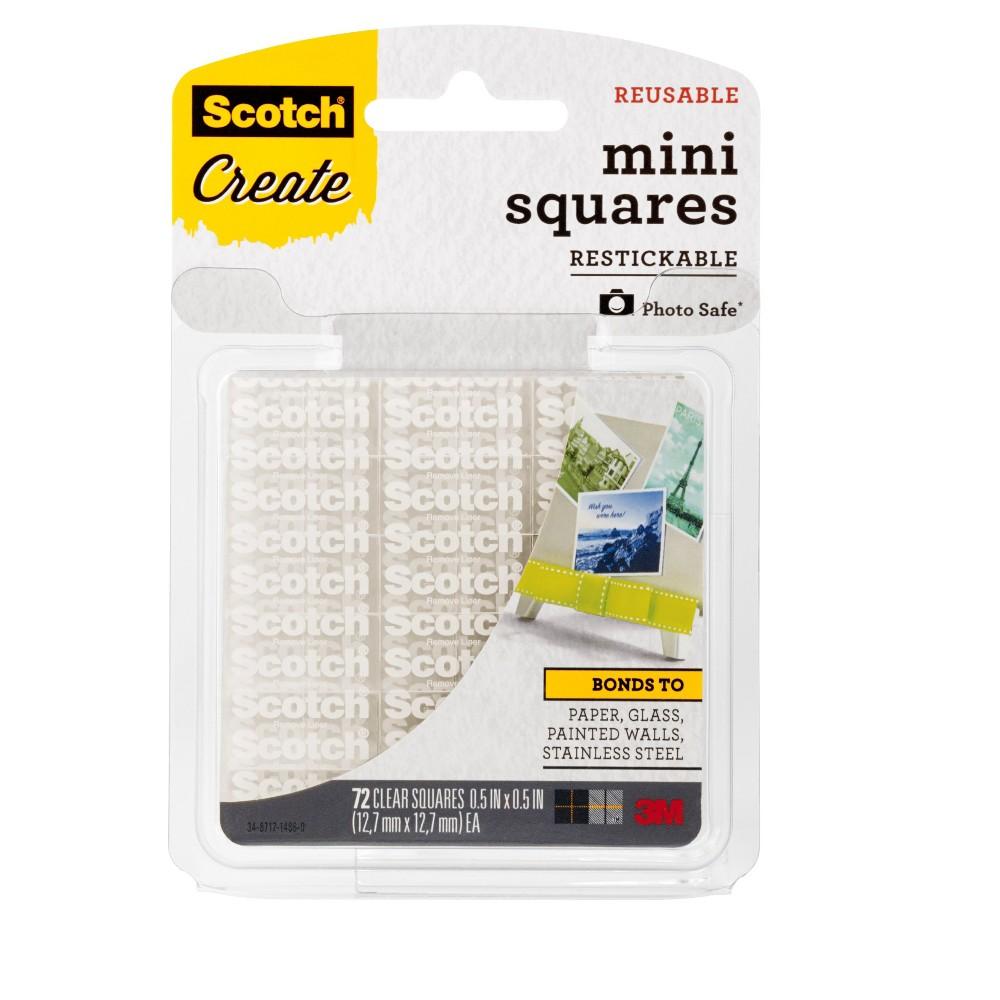 Scotch Mini Squares Reusable 72ct - Clear