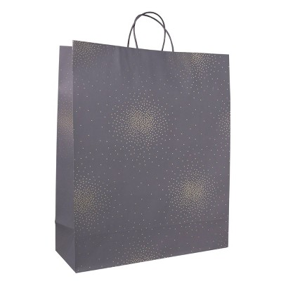 Extra Large Scattered Foil Star Dotted Gift Bag Gray - Spritz™