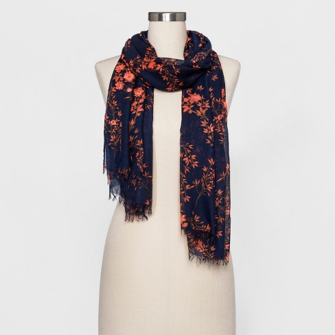 Women's Floral Scarf - A New Day™ Blue/Orange - image 1 of 2
