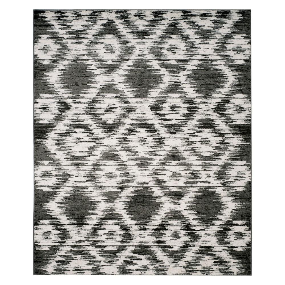 Geometric Area Rug Charcoal/Ivory