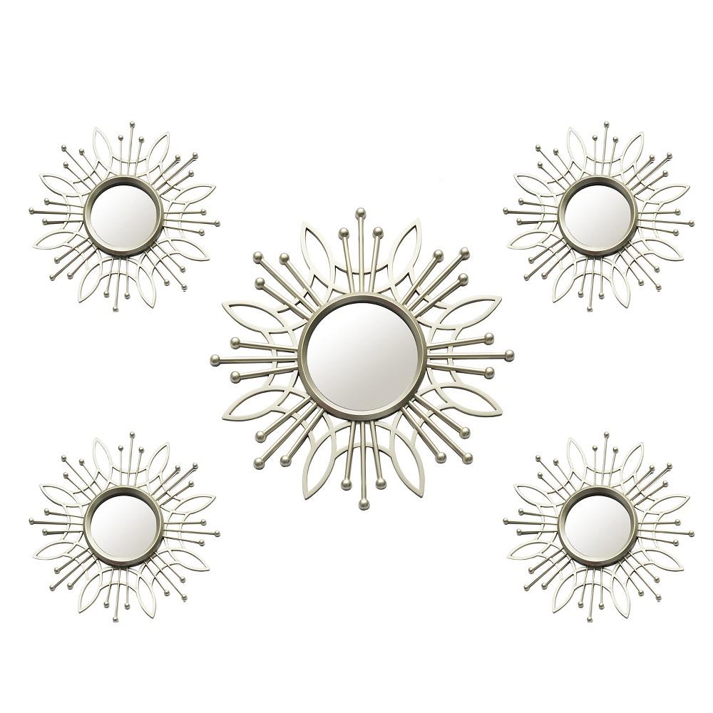 Image of 5pc Champagne Burst Wall Mirror - Stratton Home Decor, Silver
