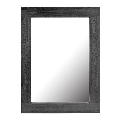 Rectangle Worn Wood Decorative Wall Mirror Black - Stonebriar Collection