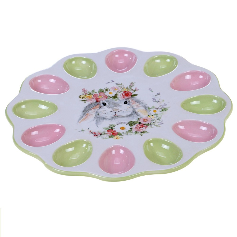 "Image of ""12.3"""" Earthenware Sweet Bunny 3-D Egg Plate - Certified International"""