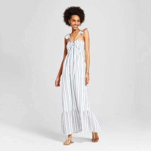 Womens Ruffle High Neck Maxi Dress Xhilaration Juniors White