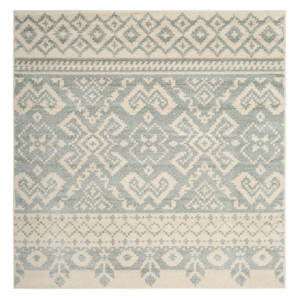 6'X6' Fair Isle Design Square Area Rug Ivory/Slate (Ivory/Grey) - Safavieh