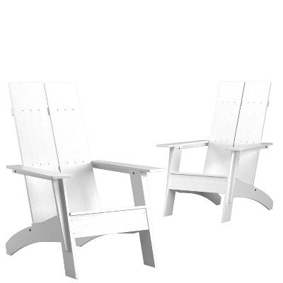 Flash Furniture Set of 2 Sawyer Modern All-Weather Poly Resin Wood Adirondack Chairs