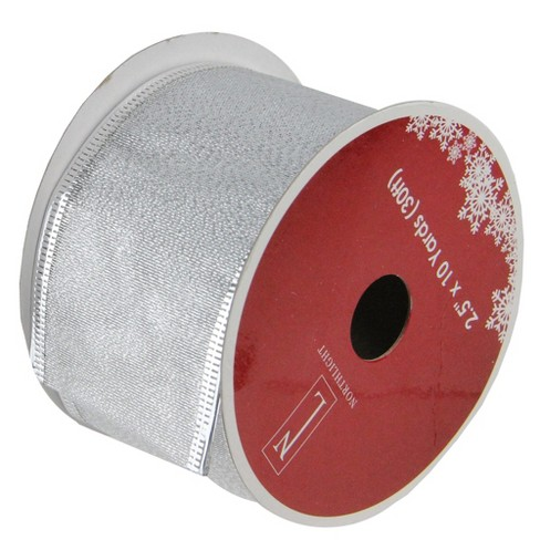 """Northlight Pack of 12 Shimmering Silver Wired Christmas Craft Ribbon Spools - 2.5"""" x 120 Yards Total - image 1 of 3"""