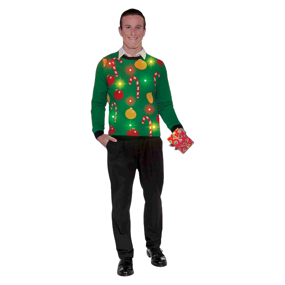 Image of Halloween Adult Light Up Ugly Christmas Costume Sweater - Large, Men's, MultiColored