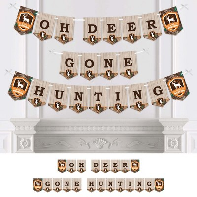 Big Dot of Happiness Gone Hunting - Deer Hunting Camo Baby Shower or Birthday Party Bunting Banner - Party Decorations - Oh Deer Gone Hunting