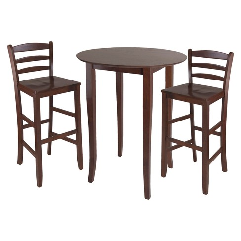 Fiona 3pc High Round Table with Ladder Back Stool - Antique Walnut - Winsome - image 1 of 1