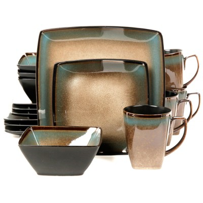 Gibson Tequesta 16pc Square Dinnerware Set- Taupe