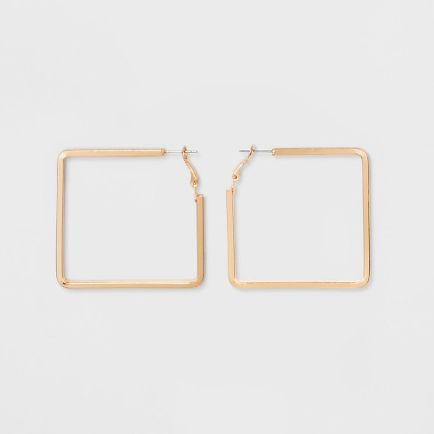 Open Square Metal Hoop Earrings A New Day Gold