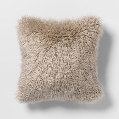 Mongolian Faux Fur Square Throw Pillow Tan - Project 62™