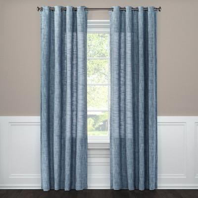 Textured Weave Window Curtain Panel Blue (54 X84 )- Threshold™