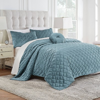 Twin Modern Living Addison Velvet 3pc Quilt Set - Teal