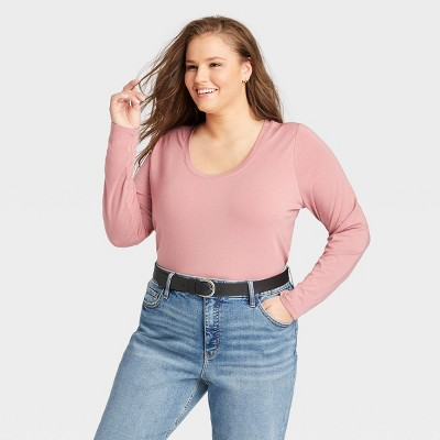 Women's Plus Size Long Sleeve Relaxed Fit T-Shirt - Ava & Viv™