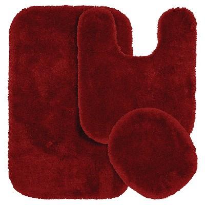 3pc Finest Luxury Ultra Plush Washable Nylon Bath Rug Set Red - Garland