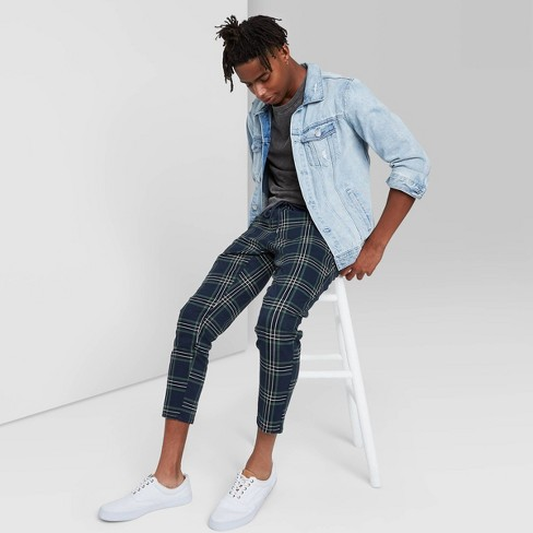 Men's Taper Plaid Jogger Pants - Original Use™ Navy - image 1 of 3
