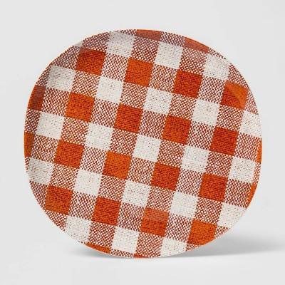 """11"""" Melamine Fall Gingham Dinner Plate Red - Threshold™"""
