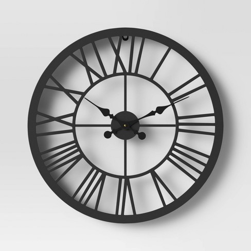 "23"" Metal Wall Clock Black - Threshold™ - image 1 of 3"