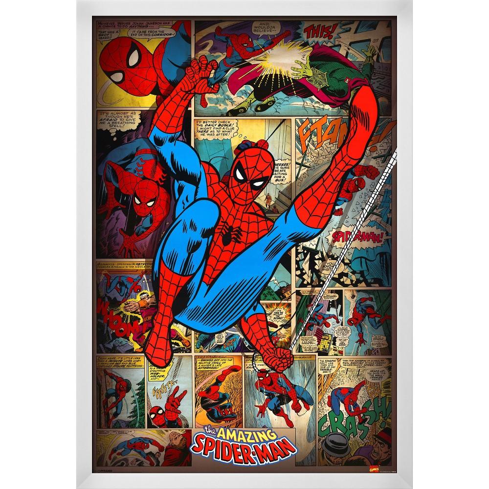 Marvel Comics-Spider-Man-Retro, White Wood Framed Poster, Red