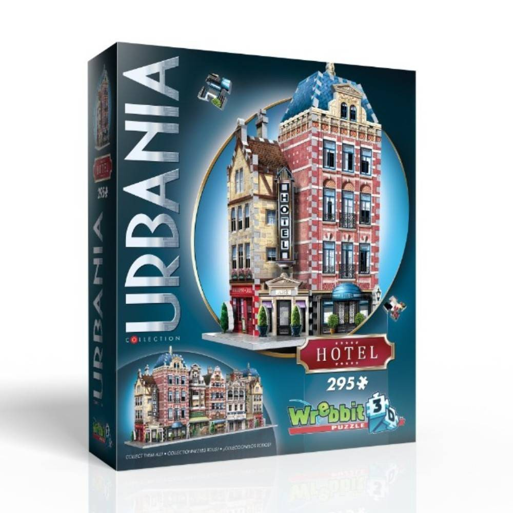 Wrebbit Urbania Collection Hotel 3D Puzzle 295pc Part of the unique and expandable Urbania Collection which reproduces charming city houses and buildings of different sizes, design and purpose you would typically find on the main street of an urban township. The idea is to recreate the idyllic urban living environment you could see yourself strolling about every day, and with the collectible and combinable 3D puzzles of the Urbania Collection, you now have the blueprints. Hotel assembled dimensions: 7.5 inches L x 6.5 inches W x 12.75 inches H. Wrebbit 3D puzzles have snug and tight fitting foam back pieces that are easy to handle. They are the sturdiest 3D puzzles on the market. Highest quality of design and illustration. Made in Canada. Age - 10 and up. Warning: Choking Hazard -- Small parts. Not for children under 3 yrs. Gender: Unisex.
