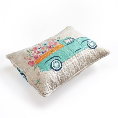 Lakeside Spring Truck Sham - Floral Pillowcase Cover with Vintage Country Print