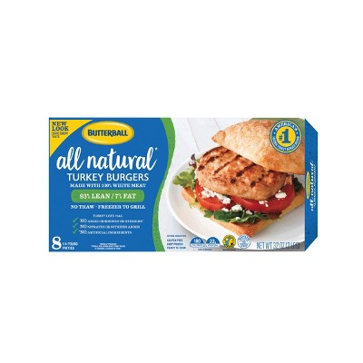 Butterball All Natural White Turkey Burgers - Frozen - 32oz