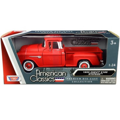 """1955 Chevrolet 5100 Stepside Pickup Truck Matt Red with Whitewall Tires """"American Classics"""" 1/24 Diecast Model Car by Motormax"""
