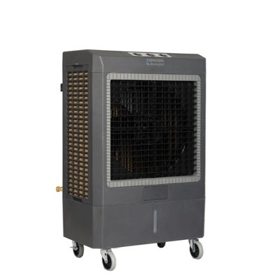 Hessaire MC61V 1,600 Square Foot Indoor/Outdoor Portable 5,300 CRM 3 Speed 14.8 Gallon Evaporative Cooler Humidifier with Continuous Auto Fill, Gray