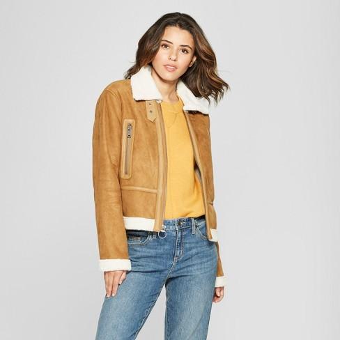 Women S Faux Shearling Moto Jacket Universal Thread Tan Xxl Target
