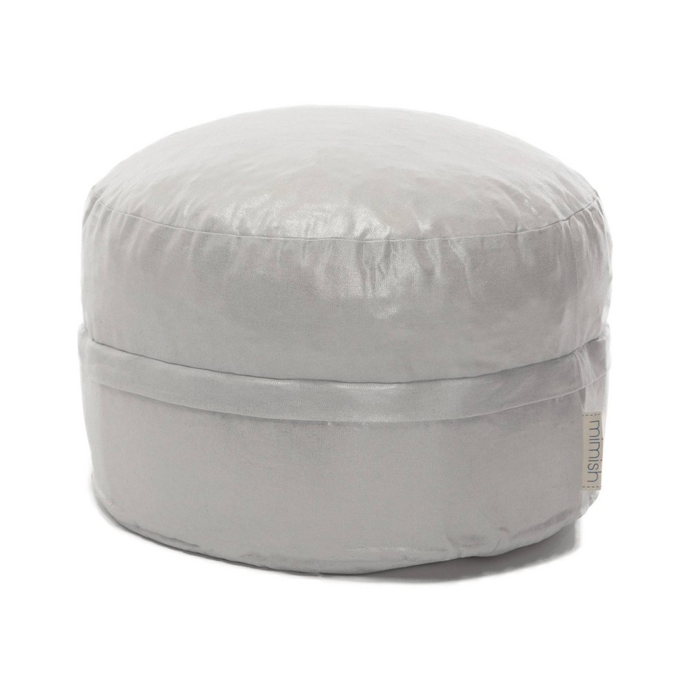 Image of Aurora Cotton Metallic Covered Zipper Storage Pouf Metallic Silver - Mimish