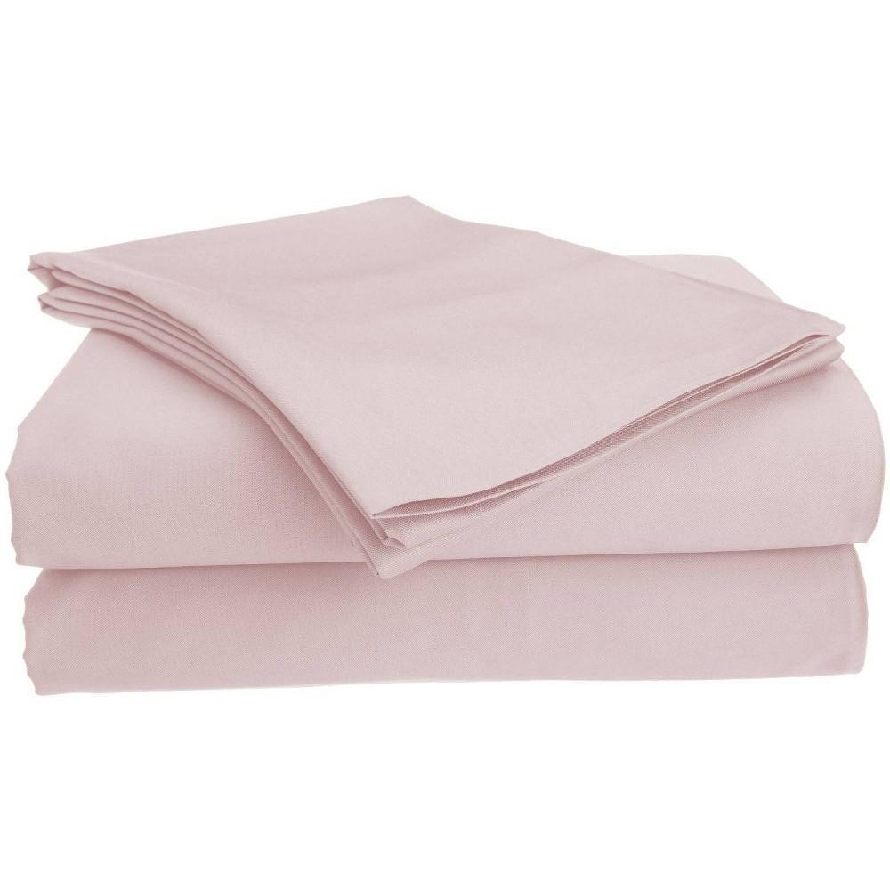 Image of Full Garment Wash Microfiber Solid Sheet Set Blush - Posh Home