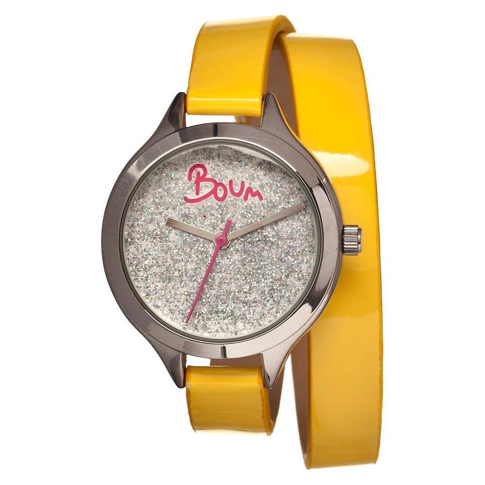 Women's Boum Confetti Watch with Custom Glitter Dial - Yellow/Silver