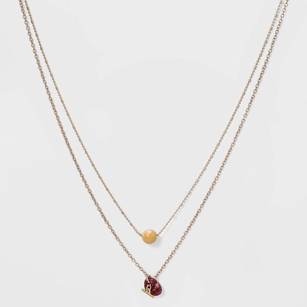Semi Precious Rhodonite And Toggle Bar With Stone Layered Necklace Universal Thread 8482