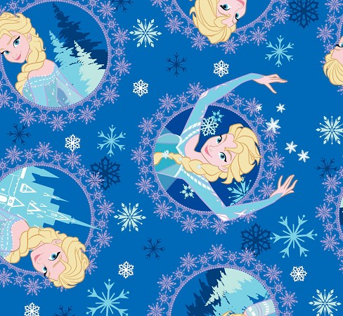 "Disney Frozen Elsa Framed, Blue, Corduroy, 43/44"" Width, Fabric by the Yard - image 1 of 1"