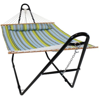 Quilted Double Fabric Hammock and Multi-Use Stand - Blue/Green Stripe - Sunnydaze Decor