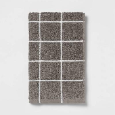 Everyday Grid Hand Towel Dark Gray - Room Essentials™